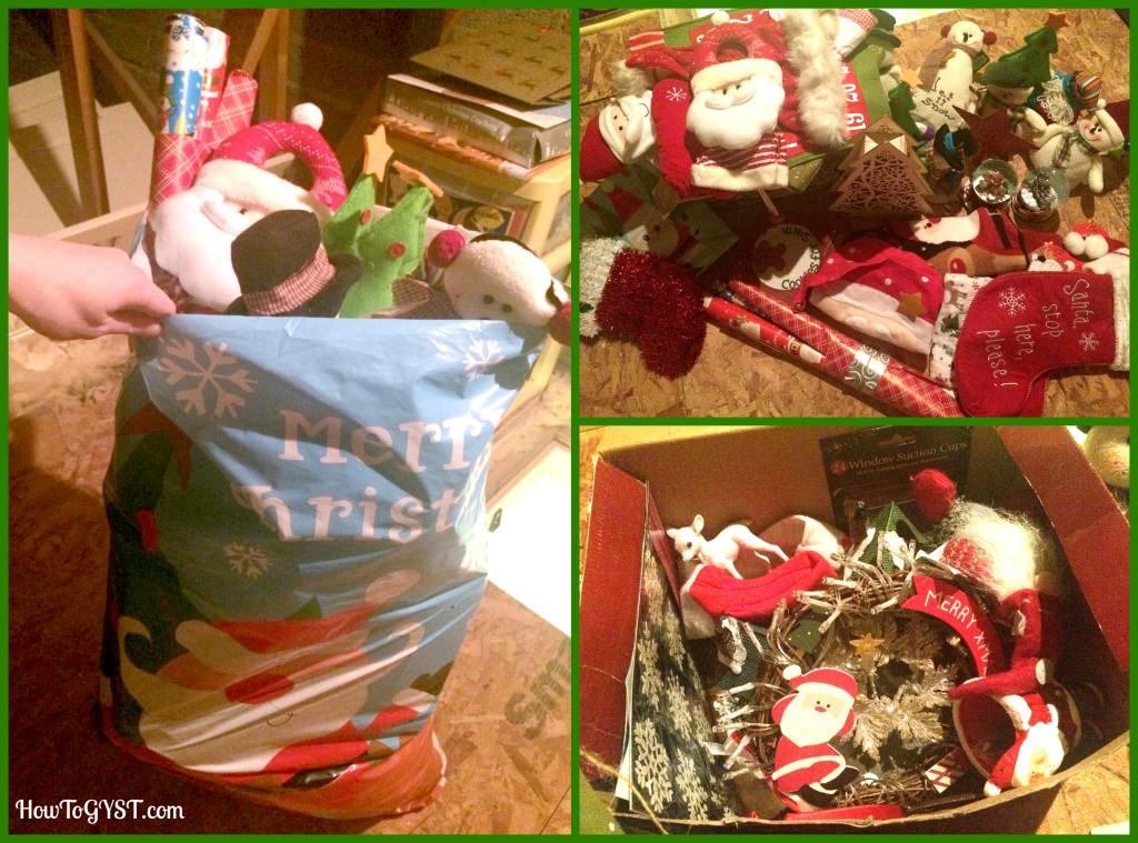 KonMari Komono Attic decorations bag before