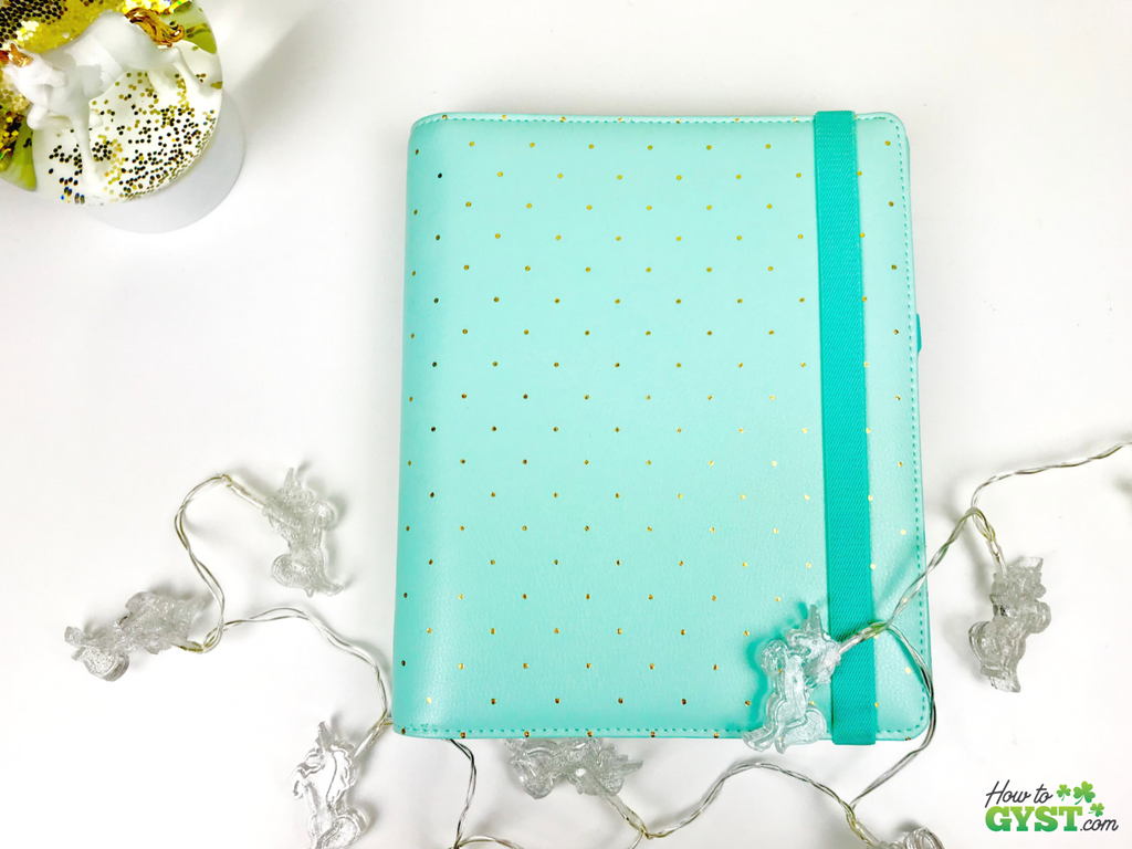 The Ultimate Gift Guide for Stationery Lovers | Looking for gift ideas for the stationery addict in your life? Try a planner | Kikki.K agenda in mint with gold dots (discontinued), front cover | Stationery addict | Planner addict | Planner nerd | planners