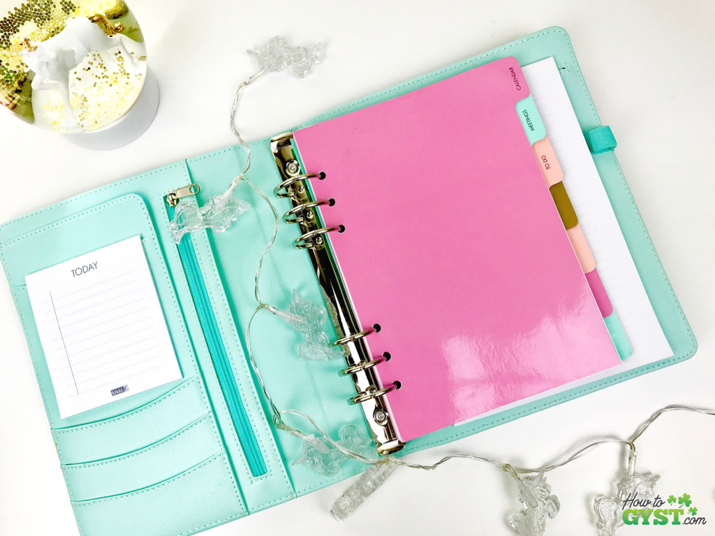 The Ultimate Gift Guide for Stationery Lovers | Looking for gift ideas for the stationery addict in your life? Try a planner | Kikki.K agenda in mint with gold dots (discontinued), inside front cover | Stationery addict | Planner addict | Planner nerd | planners