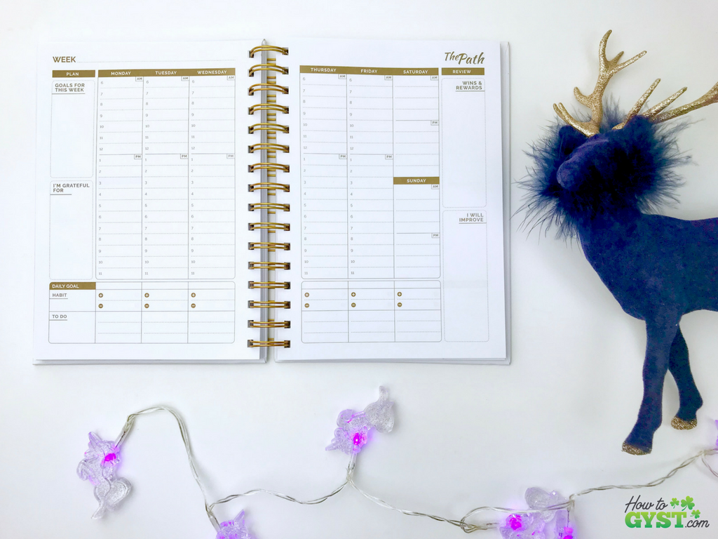 The Ultimate Gift Guide for Stationery Lovers | Looking for gift ideas for the stationery addict in your life? Try a planner | The Path planner, white & gold with gold ink, weekly spread, undated | Stationery addict | Planner addict | Planner nerd | planners