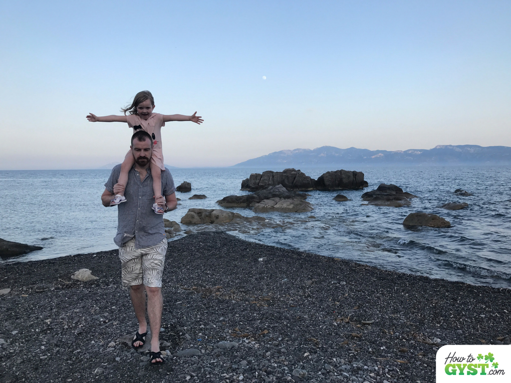 17 things I learned in 2017 – Kos, Greece – June 2017 – Scout on Sam's shoulders on the beach at dusk